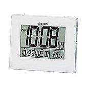 Seiko Digital Large LCD Display Alarm Desktop Calendar Clock - White QHL057W
