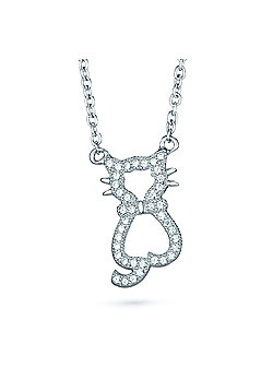 REAL Effect Rhodium Plated Sterling Silver White Cubic Zirconia Cat Design Dangle Necklace