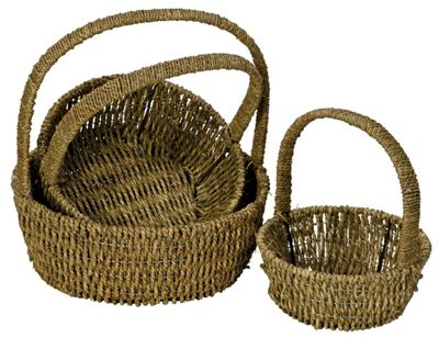 Set of 3 Round Handled Sea Grass Baskets