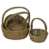 Set of 3 Round Handled Sea Grass Baskets
