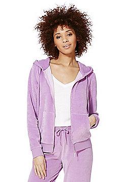 F&F Velour Zip-Through Hoodie - Lilac