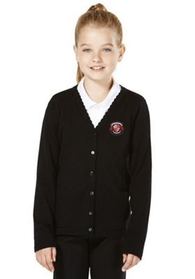 Girls Embroidered Scallop Edge School Cotton Cardigan with As New Technology 9-10 years Black