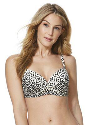 F&F Shaping Swimwear Floral Tile Print Push-Up Bikini Top Cream/Black 32 A cup