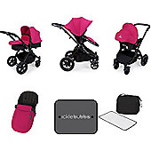 Ickle Bubba Stomp V3 AIO Travel System/Mosquito Net Pink (Black Chassis)