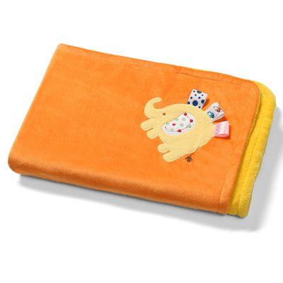 Baby Blanket- Orange Elephant