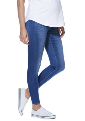 F&F Contour Over-Bump Maternity Skinny Jeans Mid Wash 10 Long leg
