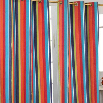 Homescapes Multi Stripes Ready Made Eyelet Curtain Pair, 117 x 137 cm Drop