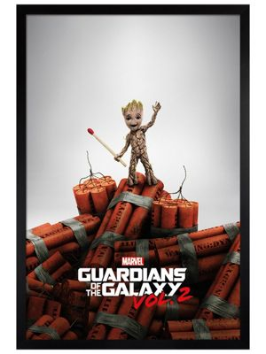 Guardians Of The Galaxy Black Wooden Framed Groot Dynamite Poster 61x91.5cm