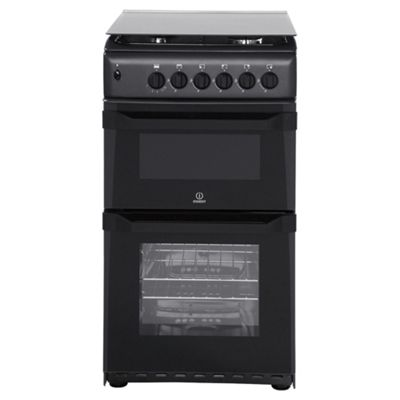 Indesit ITL50GA, Freestanding, Gas Cooker, 50cm, Anthracite, Twin Cavity, Single Oven