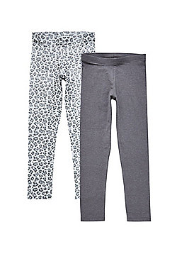 F&F 2 Pack of Leopard and Plain Leggings - Grey