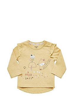 F&F Owl and Squirrel Print Long Sleeve T-Shirt - Ochre