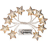Andrew James Star Shaped Fairy Lights - 10 Silver Stars - Battery Operated