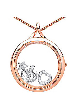 Rose Gold-Plated Silver Glass Case Living Memories Locket Necklace 18 inch - Comes with 4 Free Charms