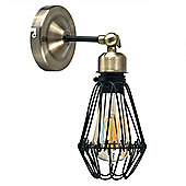 Canterbury Industrial Style Caged LED Wall Light, Satin Black & Antique Brass