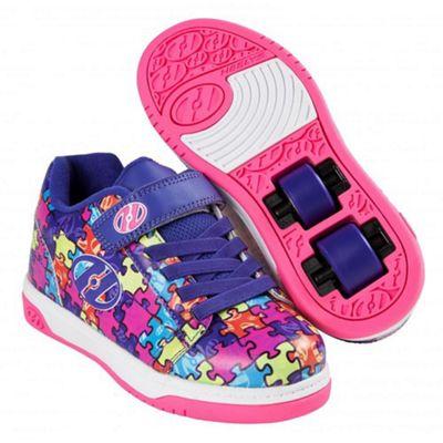 Heelys Dual Up Purple/Neon Multi/Puzzle Kids Heely X2 Shoe JNR 12