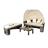 Comfy Living Rattan Sun Lounger Day Bed Garden Furniture In Grey With Cover - Table & Canopy Sofa Set