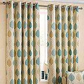 "Homescapes Cotton Duck Egg Blue Ready Made Curtain Pair Modern Leaf Design 90x54"""