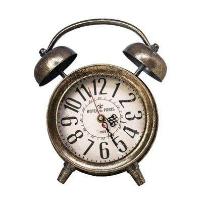 Large Traditional Alarm Clock Style Metal Standing Clock - Tarnished Gold