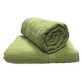 2 x Large 100% Cotton Soft Bath Towel Sheets 90 x 140 cm - Olive Green