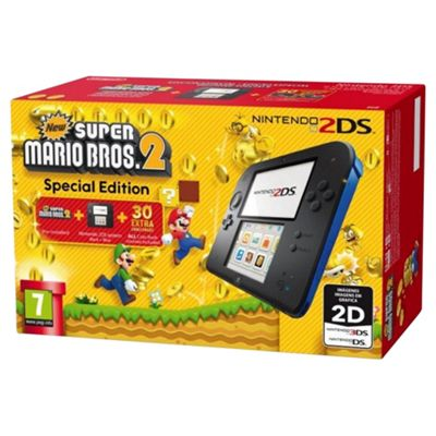 Nintendo 2DS Console (Black and Blue) with New Super Mario Bros. 2