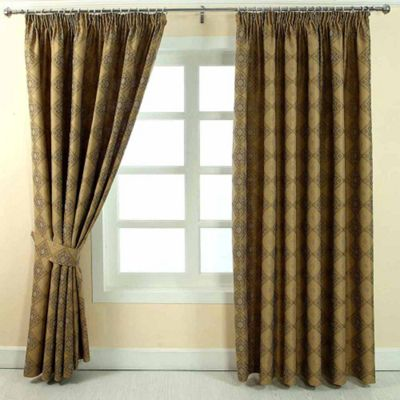 Homescapes Gold Jacquard Curtain Abstract Aztec Design Fully Lined - 46