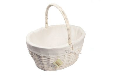 Woodluv Large Oval White Wicker Storage Hamper Basket With Lining