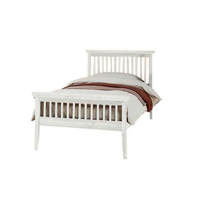 Comfy Living 3ft Single Shaker Style Wooden Bed Frame in White with Sprung Mattress