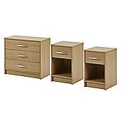 Kimpton 3 pieces 2 bedsides, 3 drwr chest Oak Effect