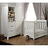 Obaby Stamford Mini Cot Bed/Wardrobe 2 Piece Nursery Room Set - White