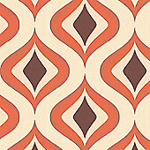 Superfresco Easy Trippy Paste The Wall Retro Geometric Orange Wallpaper