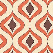 Superfresco Easy Trippy Paste The Wall Retro Geometric Orange Wallpaper