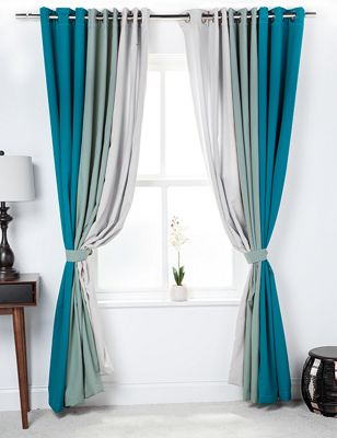 3 Tone Coloured Curtains with Tiebacks Jade/Sage/Stone 90