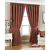 Riva Home Renaissance Pencil Pleat Curtains - Red