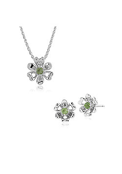Gemondo 925 Sterling Silver Peridot Floral Stud Earring & 45cm Necklace Set