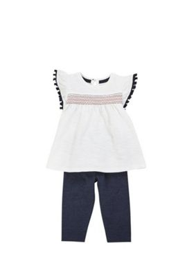 F&F Tassel Trim Jersey Top and Leggings Set Multi 3-6 months