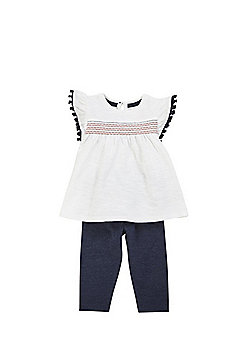 F&F Tassel Trim Jersey Top and Leggings Set - Multi