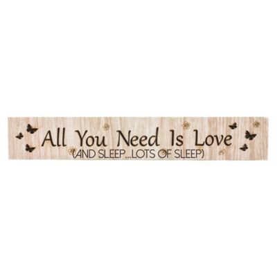 Modern Wooden 'All You Need Is Love (And Sleep...Lots of Sleep)' Mantel Plaque