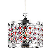 Modern Sparkly Ceiling Pendant Light Shade with Clear and Red Beads