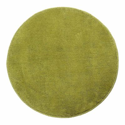 Homescapes Hand Tufted Plain Cotton Green Large Round Rug, 150 cm Diametre