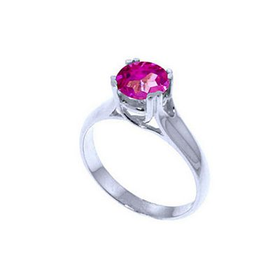 QP Jewellers 1.10ct Pink Topaz Solitaire Ring in 14K White Gold - Size H 1/2