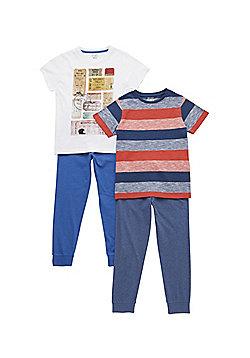 F&F 2 Pack of Ticket Print and Striped Pyjamas - Multi