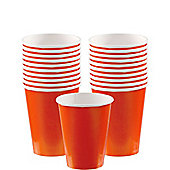Orange Cups - 266ml Paper Party Cups - 20 Pack