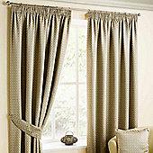"Homescapes Natural Colour Pencil Pleat Curtains with Bronze Diamond Detailing 90x90"""