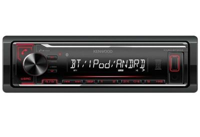 Kenwood In Car Stereo-Digital Media Receiver│Radio│FLAC│USB│AUX│Bluetooth│iPod-iPhone-Android│Red Illumination│KMM BT204