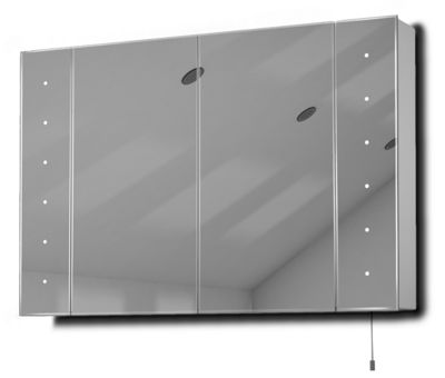 Hatha LED Illuminated Battery Bathroom Mirror Cabinet With Pull Cord K143