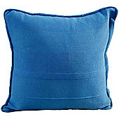 Homescapes Cotton Rajput Ribbed Blue Cushion Cover, 45 x 45 cm