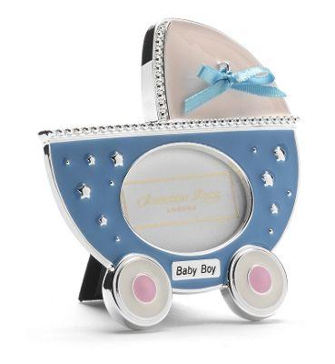Addison Ross Baby Enamel Photo Frame Blue Pram Frame