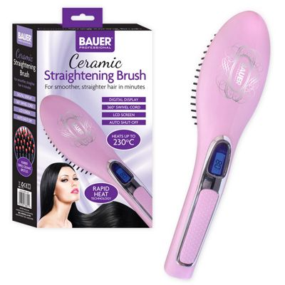 Bauer Pink Professional LCD Display Ceramic Heated Hair Straightening Brush