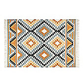 Homescapes Agra Handwoven Ochre Gold, Silver Grey and Black Diamond Pattern Kilim Wool Rug, 120 x 170 cm
