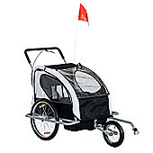 Homcom 2 in 1 Collapsible 2-Seater Kids Stroller and Bike Trailer (Black & White)